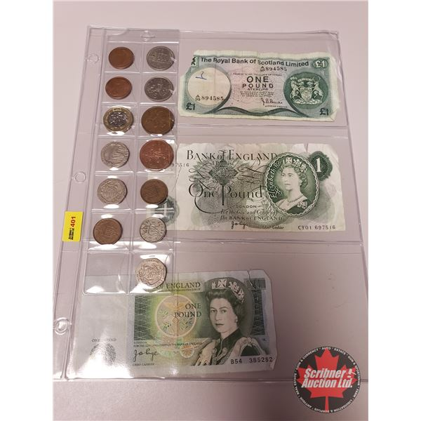 FOREIGN Bills (3) & Coins (13) : Scotland, England Bills & Variety Coins .....