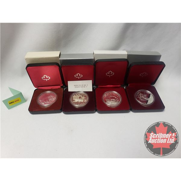 RCM Proof Dollars in Case ~ Collector Combo 4 Pack: 1983 Edmonton; 1981 Canada; 1679-1979 Griffon; 1