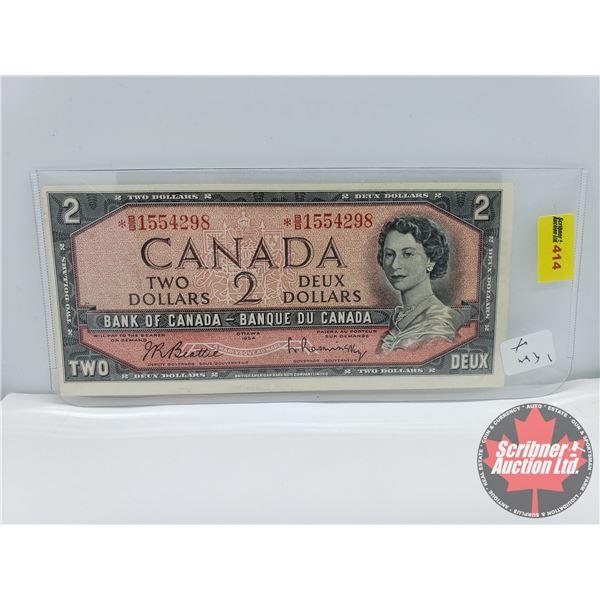 Canada $2 Bill 1954* Replacement : Beattie/Rasminsky S/N#*BB1554298