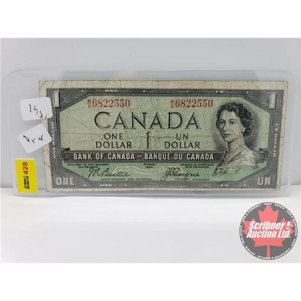 "Canada $1 Bill 1954DF ""Devils Face"" : Beattie/Coyne S/N#MA6822550"