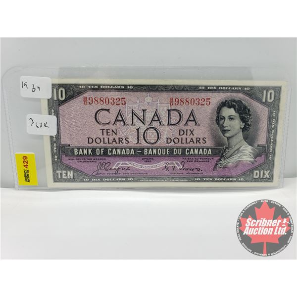 "Canada $10 Bill 1954DF ""Devils Face"" : Coyne/Towers S/N#BD9880325"
