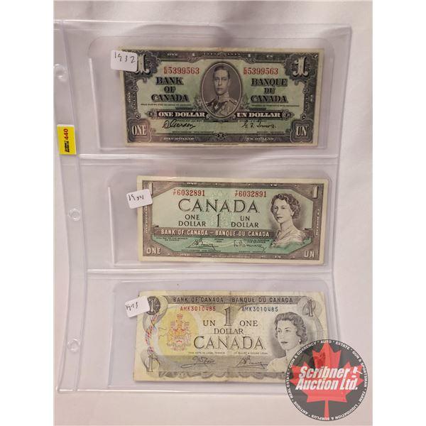 Canada $1 Bills (3): 1937 ; 1954 ; 1973 (See Pics for Serial #'s & Signatures)