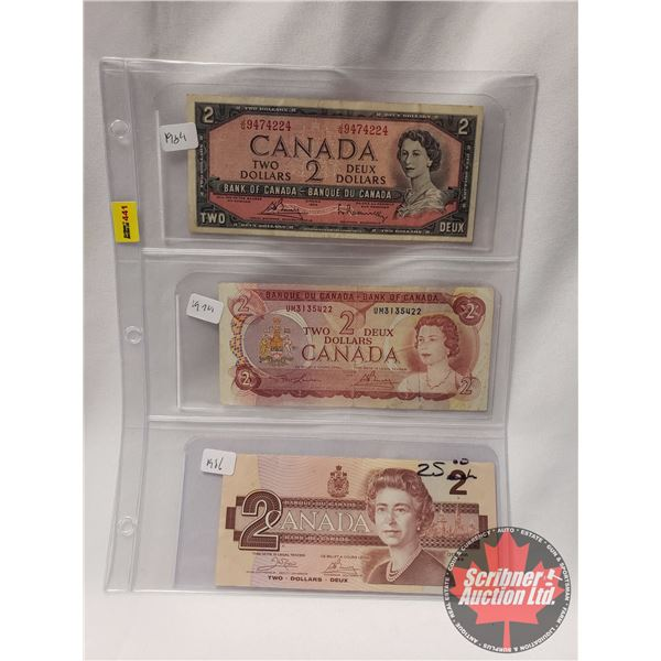 Canada $2 Bills (3): 1954 ; 1974 ; 1986 (See Pics for Serial #'s & Signatures)