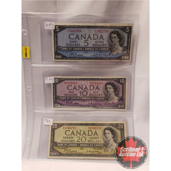 Canada 1954 Bills (3): $5 ; $10 ; $20 (See Pics for Serial #'s & Signatures)