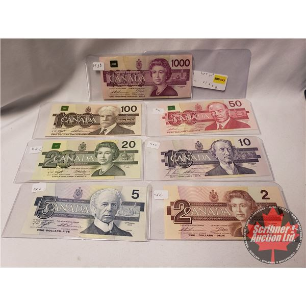 Canada Bills Bird Series (7 Bills) : $2; $5; $10; $20; $50; $100; $1000 (See Pics for Serial #'s & S