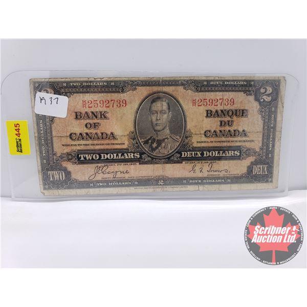 Canada $2 Bill 1937 : Coyne/Towers S/N#KR2592739