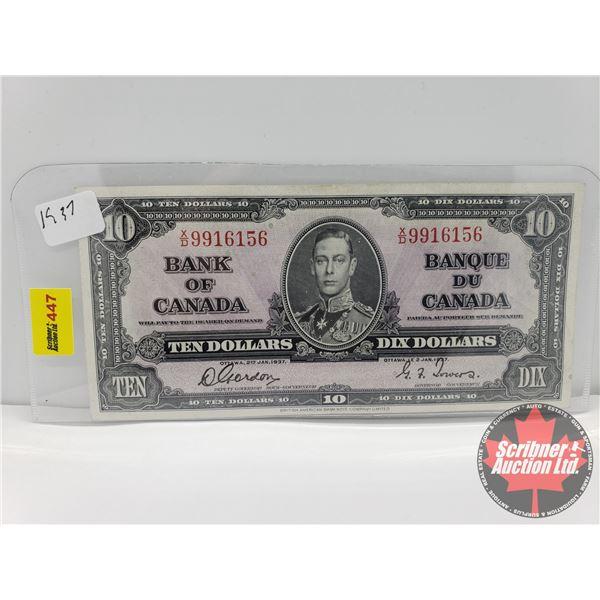 Canada $10 Bill 1937 : Gordon/Towers S/N#XD9916156