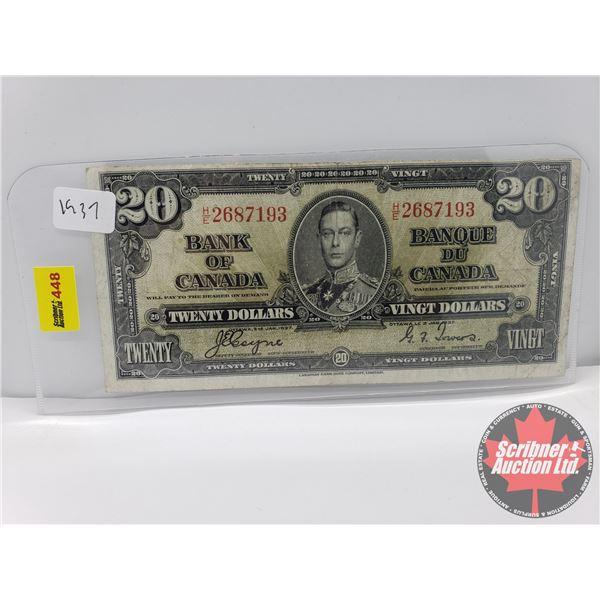 Canada $20 Bill 1937 : Coyne/Towers S/N#HE2687193