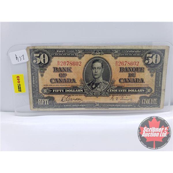 Canada $50 Bill 1937 : Gordon/Towers S/N#BH2678602