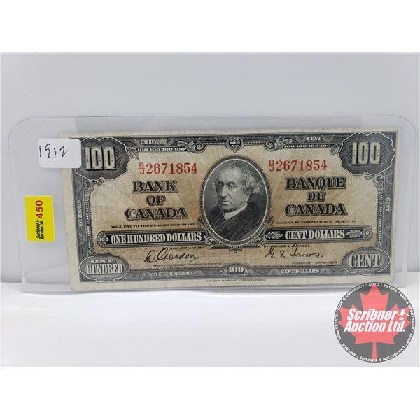 Canada $100 Bill 1937 : Gordon/Towers S/N#BJ2671854