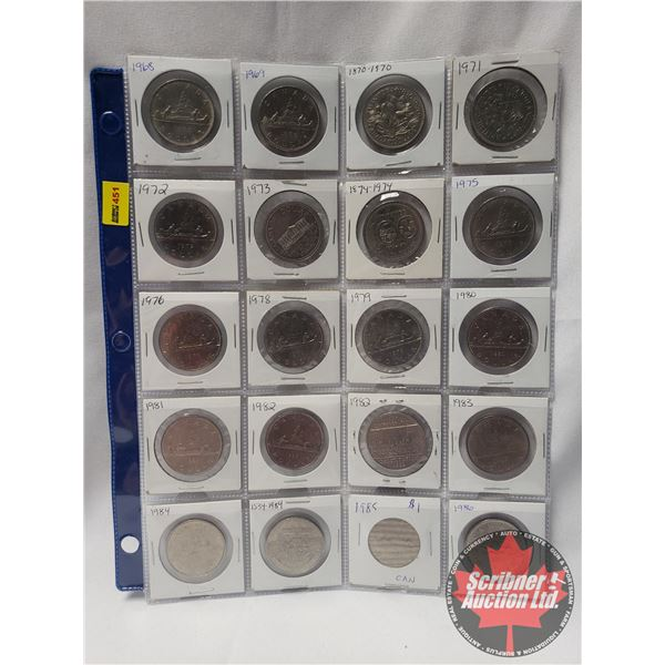 Canada Dollars - Sheet of 20: 1968; 1969; 1970; 1971; 1972; 1973; 1974; 1975; 1976; 1978; 1979; 1980