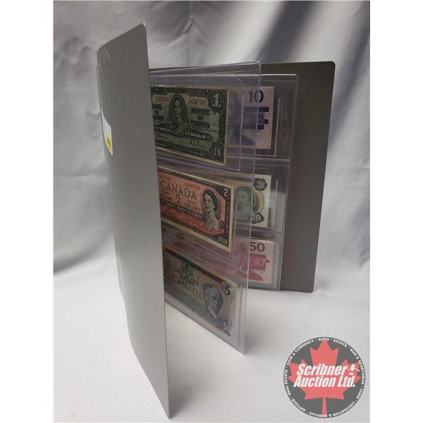 Canada Bills (6) Variety Binder Lot: 1937 $1 ; 1954 $2 ; 1979 $5 ; 1989 $10 ; 1979 $20 ; 1988 $50 (S