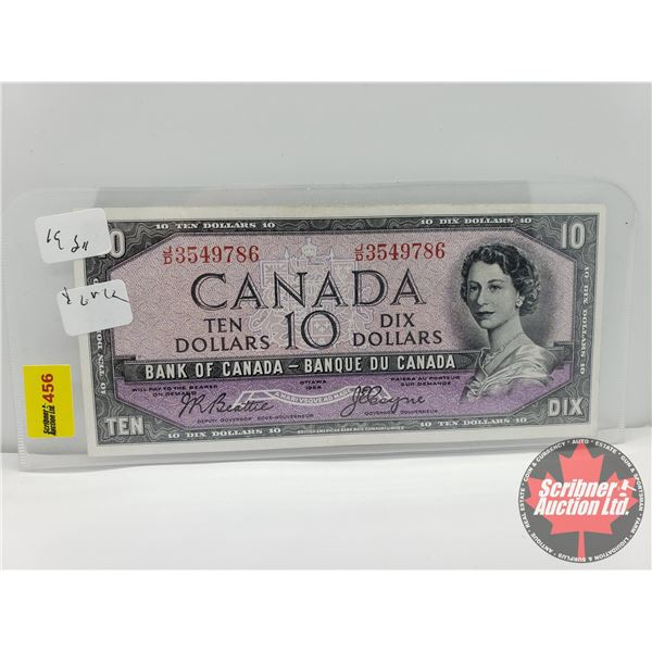 "Canada $10 Bill 1954DF ""Devils Face"" : Beattie/Coyne S/N#JD3549786"