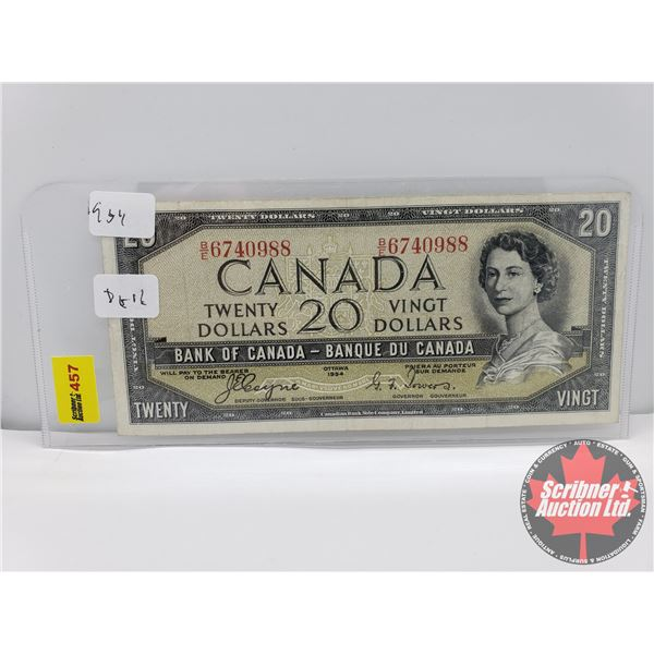 """Canada $20 Bill 1954DF """"Devils Face"""" : Coyne/Towers S/N#BE6740988"""