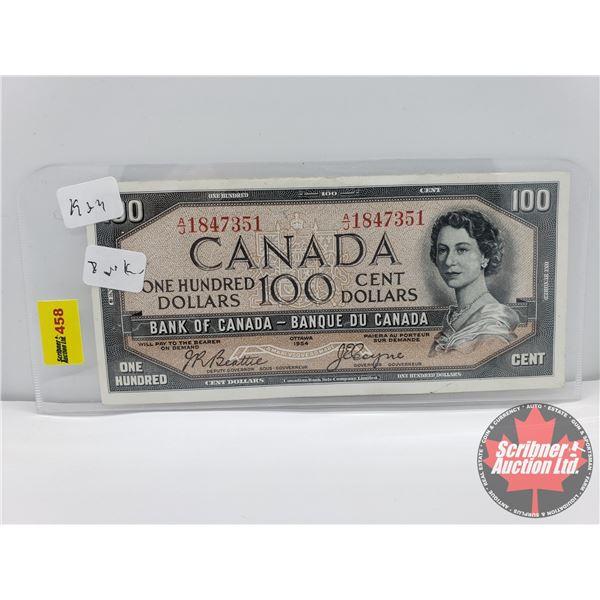 "Canada $100 Bill 1954DF ""Devils Face"" : Beattie/Coyne S/N#AJ1847351"