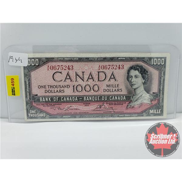 Canada $1000 Bill 1954 : Lawson/Bouey S/N#AK0675243