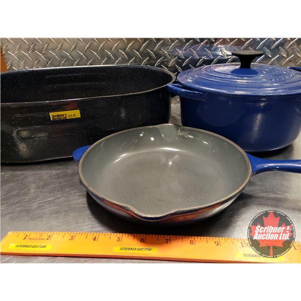 Le Creuset Pot w/Lid & Frying Cast Pan w/Roaster (Blue Theme)