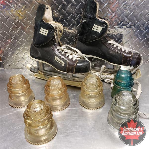 Collector Combo: Bauer 76 Skates & Insulators (SEE PICS!)