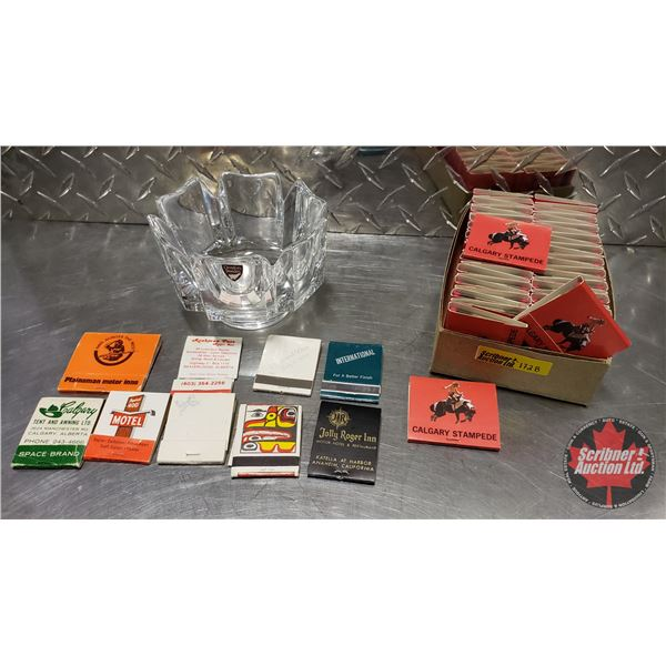 Calgary Stampede Match Books (Unused) & w/Orrefors Bowl & Asst'd Matchbooks