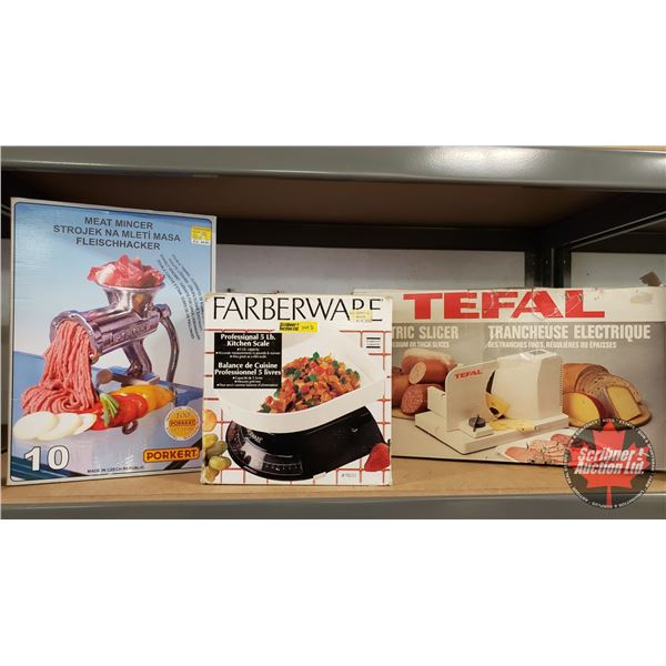 Kitchen Trio: Porkert Meat Mincer, Farberware 5lb Kitchen Scale & Tefal Electric Slicer (All in Boxe