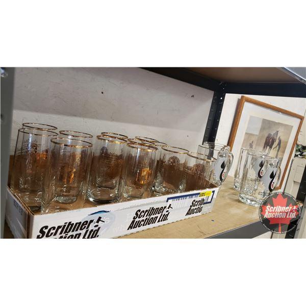 Edmonton Northlands Canadian Derby 1985-1987 Glasses (12) & Athabasca Oil Sands Mugs (4)