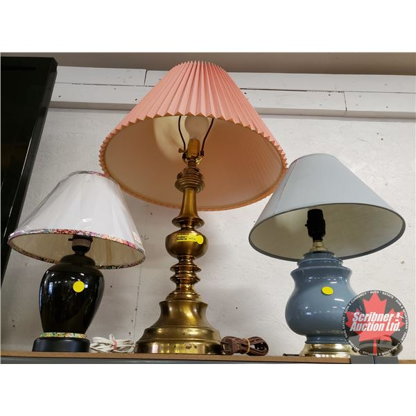 Electric Table Lamps w/Shades (3)