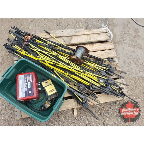 Pallet Lot: Electric Fencing Items (Incl: Chargers, Stakes & Wire)