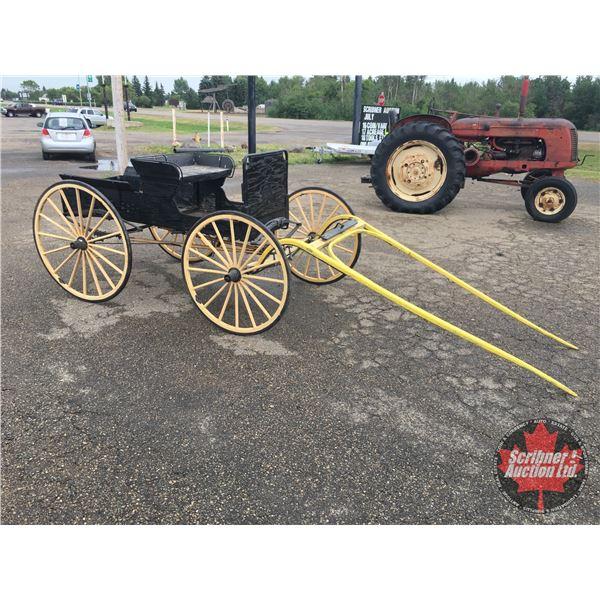 "Democrat Buggy : Box size 79"" x 29-1/2"" Rubberized Wheels ~ Wheel Dia approx 42"""