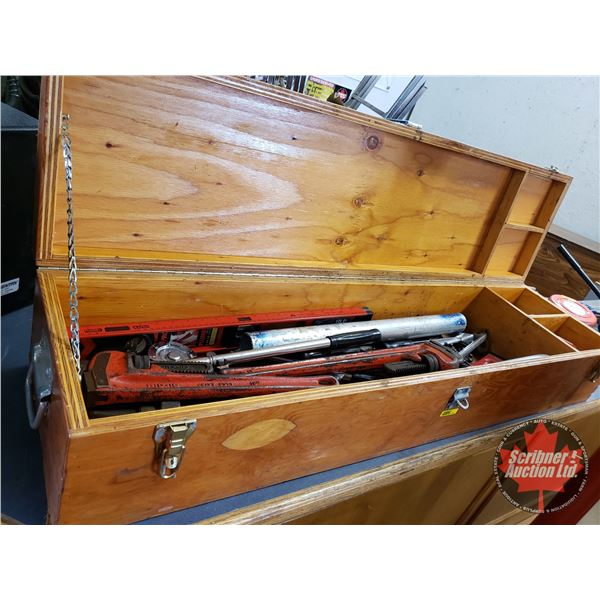 Plywood Box w/Tubing Benders, Pipe Wrenches, Level etc