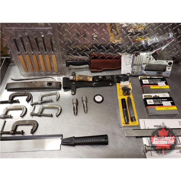 Tray Lot: Staple Gun, Staples, C-Clamps, Knives, Spark Plug Port Repair Kit, etc