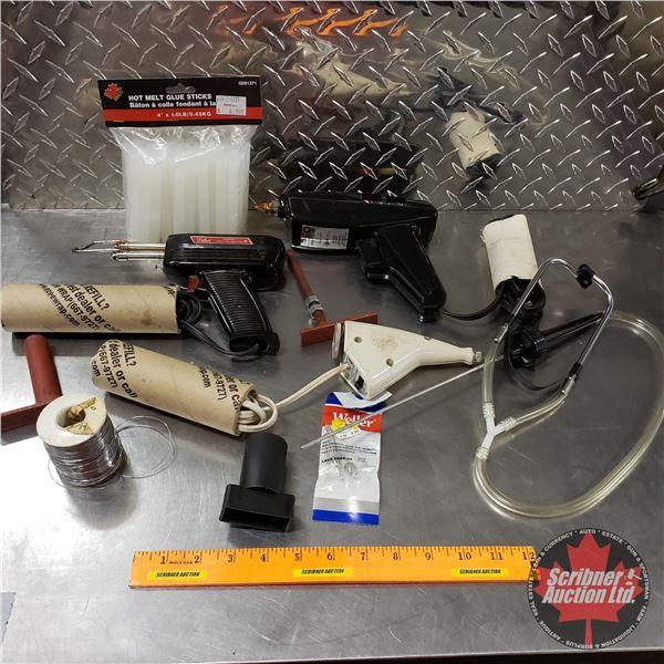 Tray Lot: Hot Glue Gun, Solder Guns, etc