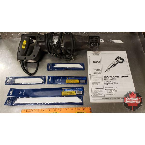 Tray Lot: Sears 2sp Reciprocating Saw w/Blades