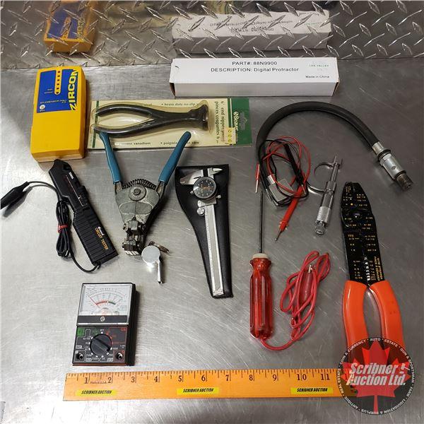 Tray Lot: Battery Tester, Volt Meter, Test Light, Circuit Tester, Stud Finder, Digital Protractor, e