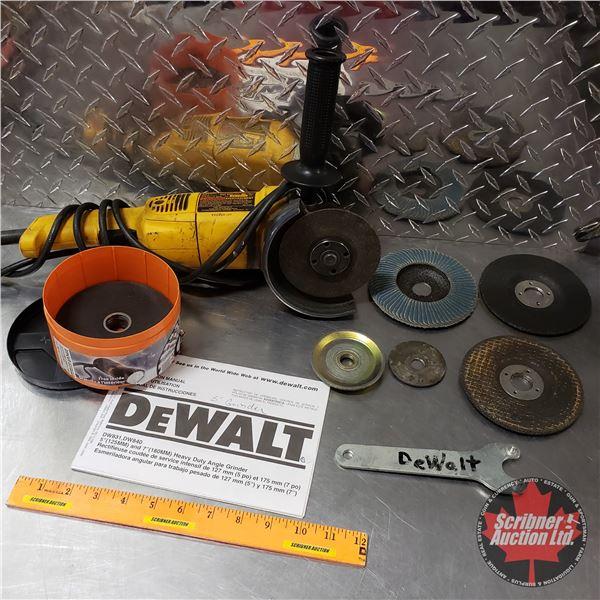 "Tray Lot: Dewalt 5"" Grinder & Variety of Discs"