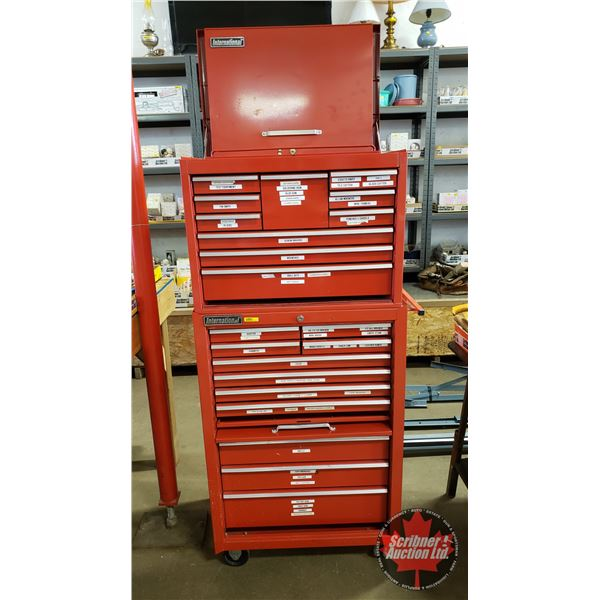 "International Rolling Tool Cabinet & Chest w/Keys (21 Drawers) (61""H x 29-1/2""W x 19""D)"
