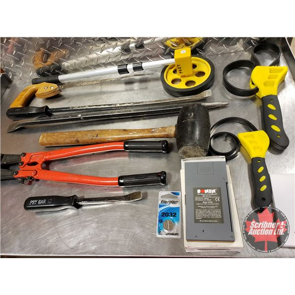 Tray Lot: Mallet, Bolt Cutters, Fraction Calculator, Pry Bar, Measuring Wheel, etc (SEE PICS!)