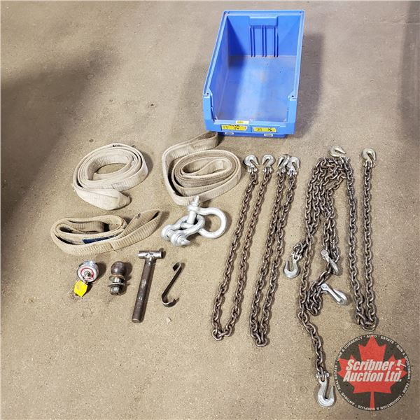 """Blue Tote Lot: 1/4"""" Chains, Tow Straps, etc"""