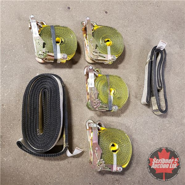 """Tray Lot: 2"""" Ratchet Straps (4 New); Tow Straps (2)"""