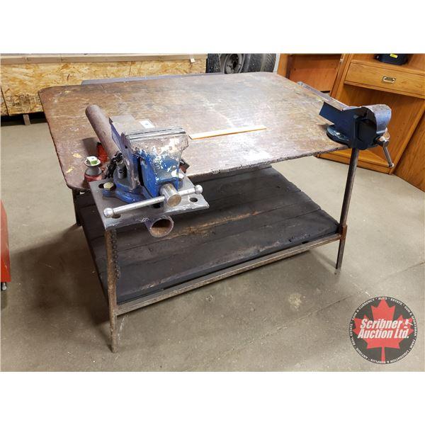 "Steel Welding Table w/Rigid Pipe Vise & 2 Vises (Table = 30""H x 50""W x 36""D)"