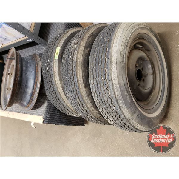 "Tires (3) & Rims (4) Motomaster P205/75-R15 (Bolt Pattern 5 on 4-1/2"")"