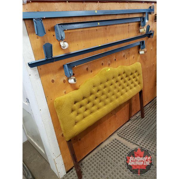 Double Headboard & Bedframe (Golden Plush, Pleated)