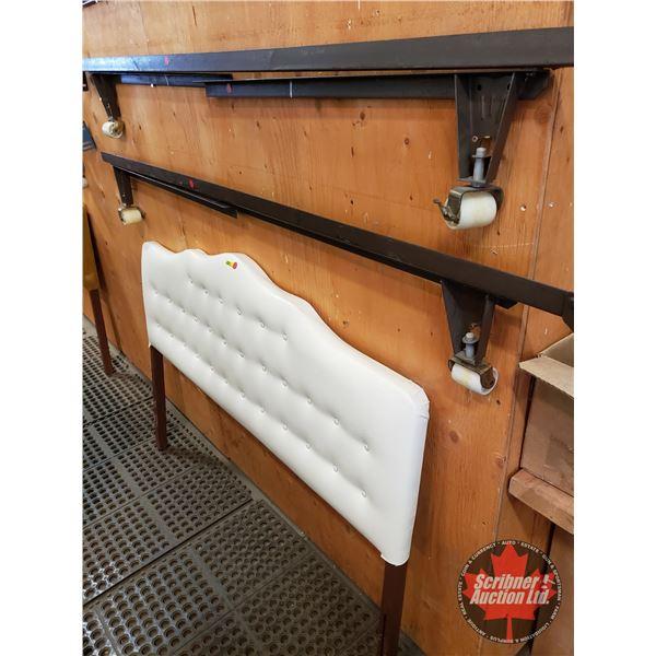 Double Headboard & Bedframe (White Leather Pleated Headboard)