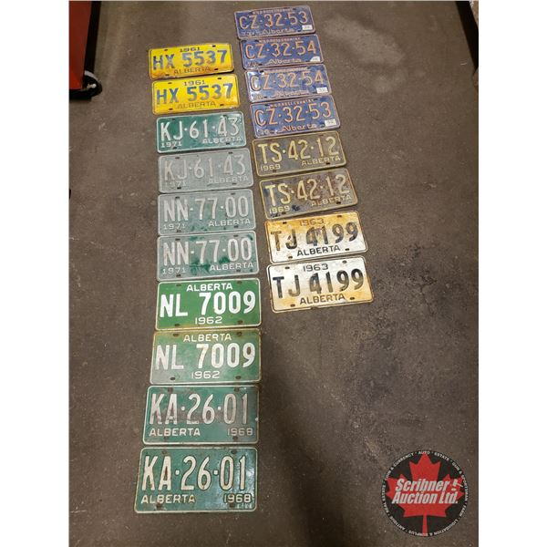 Tray Lot: License Plates (9 Pairs) (Incl: 60's & 70's) (SEE PICS!)