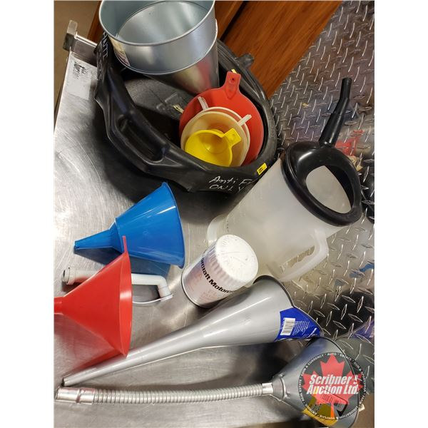 Oil Tray w/Variety of Funnels, 1 Filter, Measuring Container w/Spout