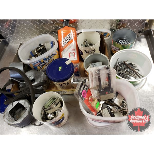 Tray Lot: Pad Locks, Hose Clamps, Bolts, Screws, wire, etc (SEE PICS!)