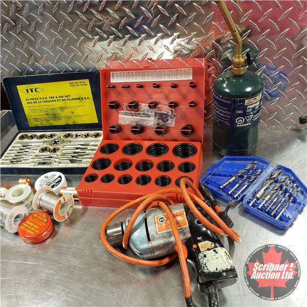 Tray Lot: O-Ring Kit, Black & Decker Drill, Tap & Die Set, Drill Bits, etc