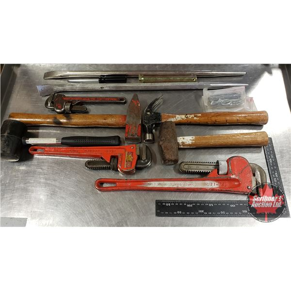Tray Lot: Mallets, Crescent Wrenches, Pry Bars, Cat Bars, etc