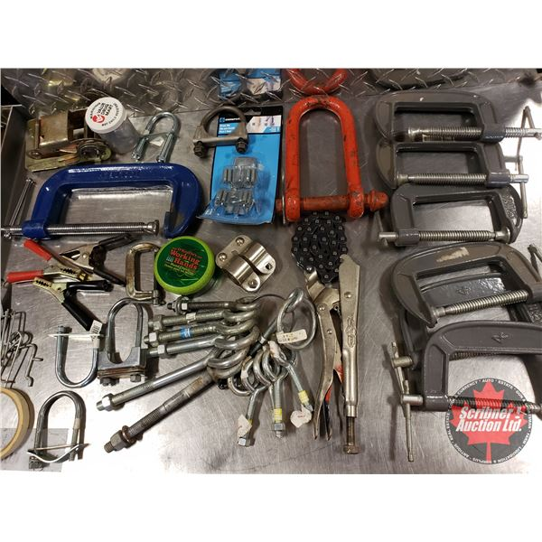 Tray Lot: C-Clamps, Chain Vise, U-Bolts, etc
