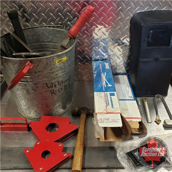 Bucket Lot: Welding Rods, Files, Metal Brushes, Helmet, etc