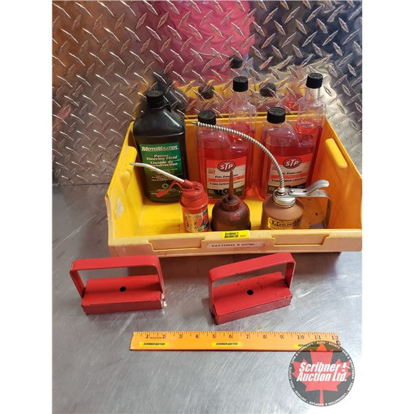 Plastic Tote Lot: Magnets, Power Steering Fluid, Fuel Stabilizer, Oilers